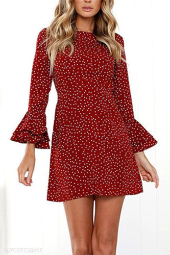Small Floral Round Neck Flare Sleeve Mini Dress