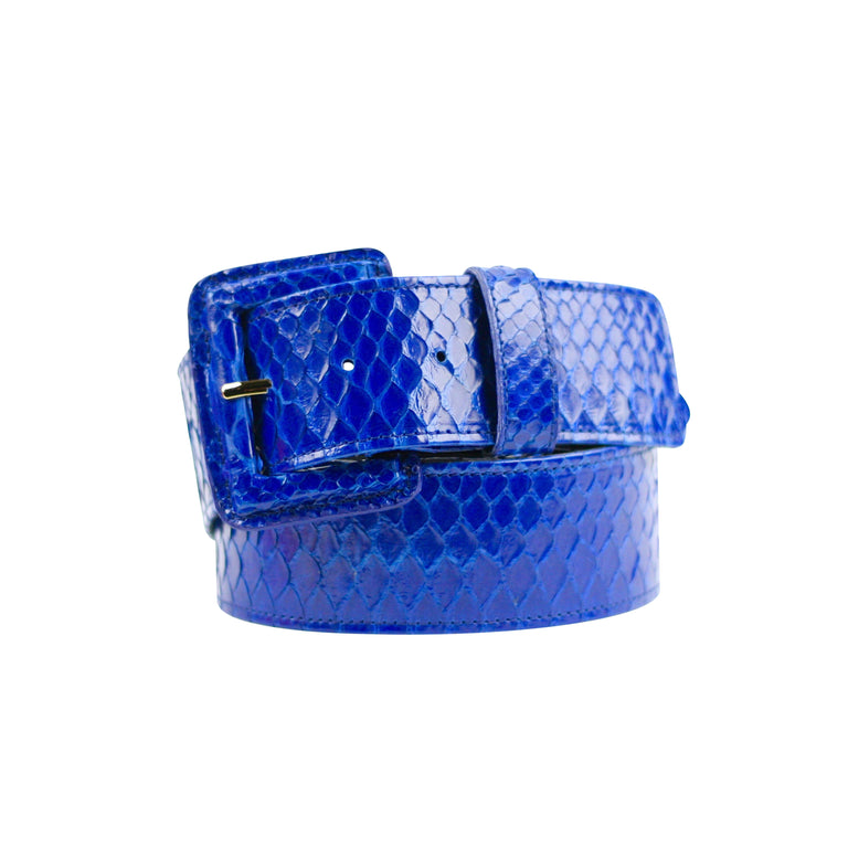 Snakeskin Belt with Covered Buckle