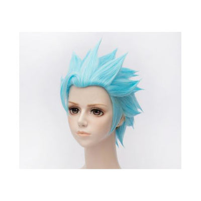 Short Blue Bangless Spiky Wig