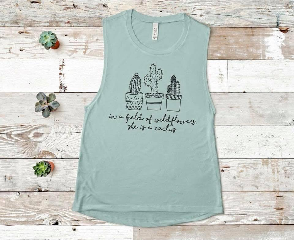 Cactus Wildflower Muscle Tank (Dusty Blue) DROPSHIP