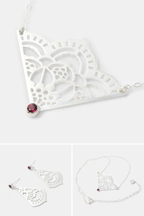 Unique wedding and bridal jewellery: sterling silver pendant necklace in a unique mehndi design. Handmade in sterling silver with a rhodolite gemstone setting. Unique handmade silver jewellery by Australian jewellery designer Simone Walsh.