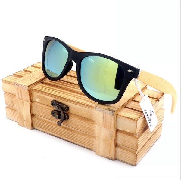 High Quality Sunglasses With Bamboo Legs Mirrored Style Travel Eyewear Wood Box