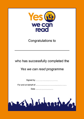 Yes We Can Read: Certificate