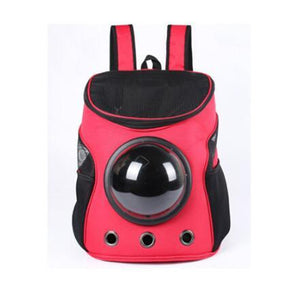 Breathable Space Capsule Shaped Backpack For Dogs & Cats Backpack Supply and Vibe red 35x31x25cm