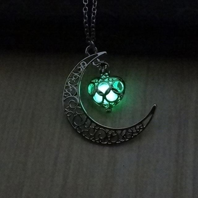 Glow In The Dark Hollow Moon & Heart Necklace Necklace Supply and Vibe Green