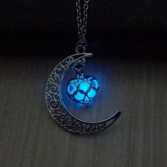 Glow In The Dark Hollow Moon & Heart Necklace Necklace Supply and Vibe Blue