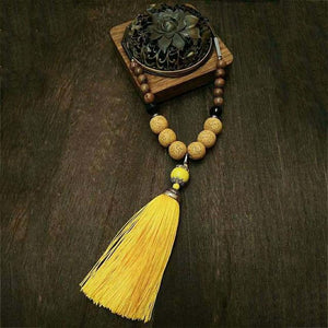 Handmade Vintage Lava Stone Tassel Meditation Necklace Necklace Supply and Vibe Yellow