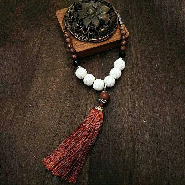 Handmade Vintage Lava Stone Tassel Meditation Necklace Necklace Supply and Vibe White/Red