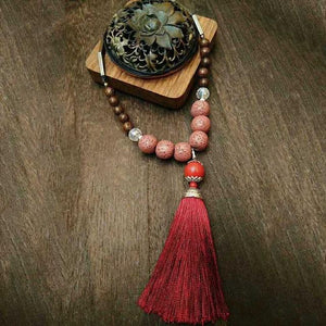 Handmade Vintage Lava Stone Tassel Meditation Necklace Necklace Supply and Vibe Red