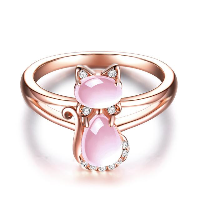 Pink Quartz Crystal Rose Gold Plated Rhinestone Cat Ring Rings Supply and Vibe 6 Pink Rose Gold Color