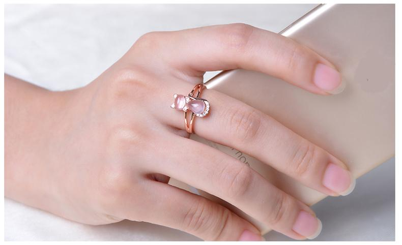 Pink Quartz Crystal Rose Gold Plated Rhinestone Cat Ring Rings Supply and Vibe