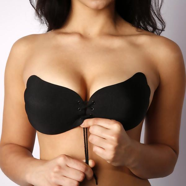 Invisible Push Up Strapless Bra women's fashion Supply and Vibe Black A United States