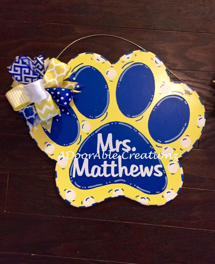 Paw Teacher Door Hanger - Simply Adorable Creations
