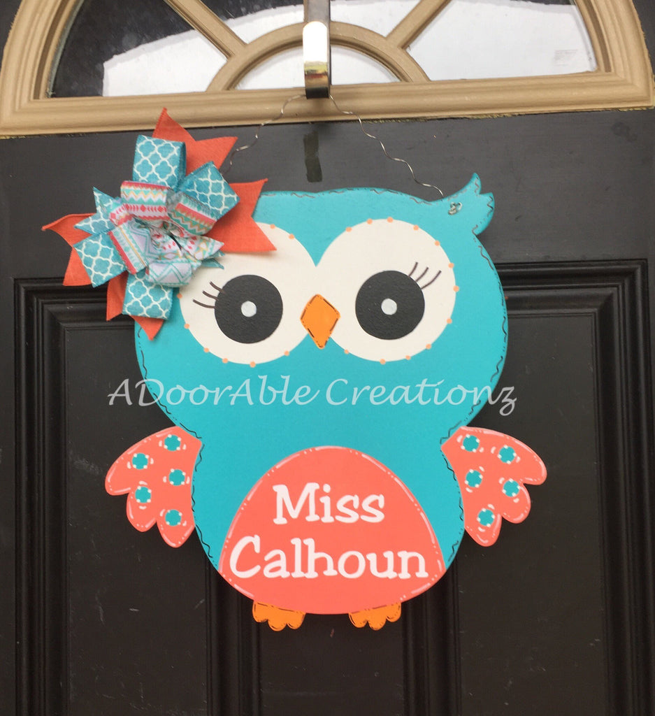 Personalized Teacher Owl Door Hanger for Classroom Decor - Simply Adorable Creations
