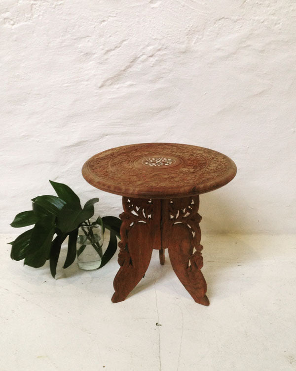 Table - small round - carved