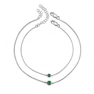 emerald, sterling silver