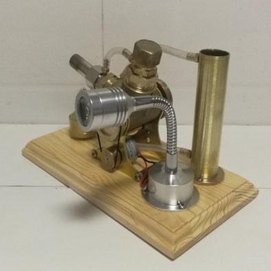 All-copper wooden base, water-cooled V-type Stirling engine, generator model, experimental engine