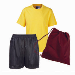 St Joseph's PE Kit with Logo (Gold Tee / Black Shorts / Burgundy Bag)