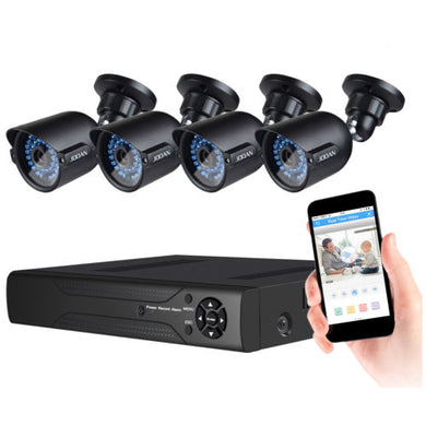 Security System 4 X 720P Weatherproof TVI Camera And 1080N 8CH DVR Recorder