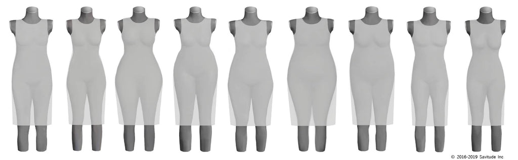 women's 9 body shapes in 3-D