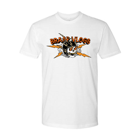 Braap Vlogs Skull T-Shirt (White)