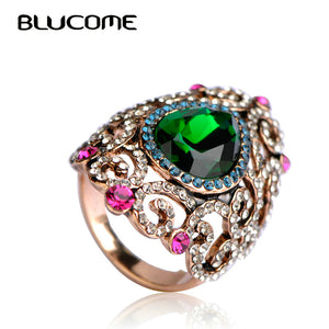 Women Vintage Style Jewelry Full Crystal Rhinestone Green Flower Ring