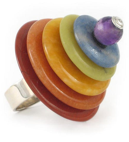 Stacked Rainbow Ring in Amethyst, Blue Lace Agate, Green and Yellow Jade, Red Aventurine and Red Jasper