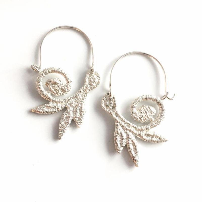 sterling silver cast lace vine hoops - small