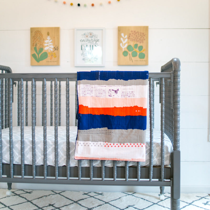 Navy & Coral Stripes Cuddle Blanket