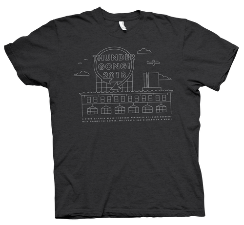 grey western auto Thundergong! t-shirt with grey Western Auto screen printed design