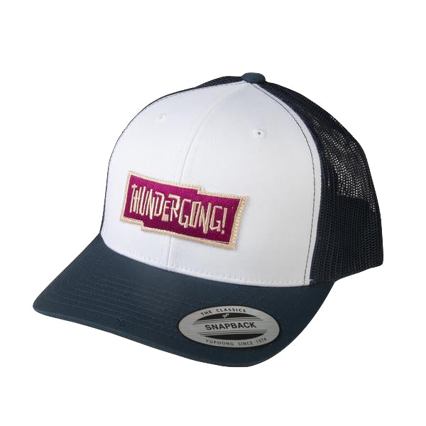 navy and white trucker cap with red thundergong! logo