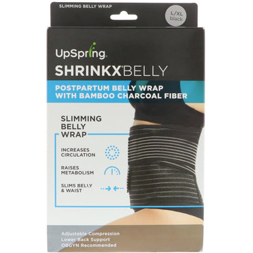 UpSpring Shrinkx Belly Postpartum Belly Wrap With Bamboo Charcoal Fiber Size L/XL Black