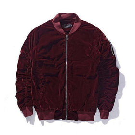 VELVET BOMBER JACKET - RED - CLOUT CULTURE