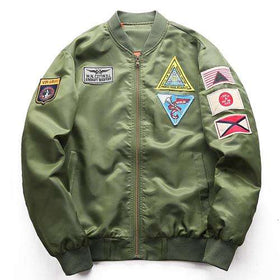 MILITARY BOMBER JACKET - ARMY GREEN - CLOUT CULTURE