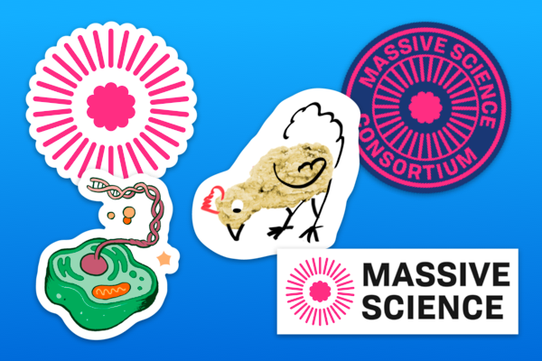 5 stickers including a chicken illustrated a chicken nugget sticker, a green sticker showing a cell, and 3 Massive Science logo stickers