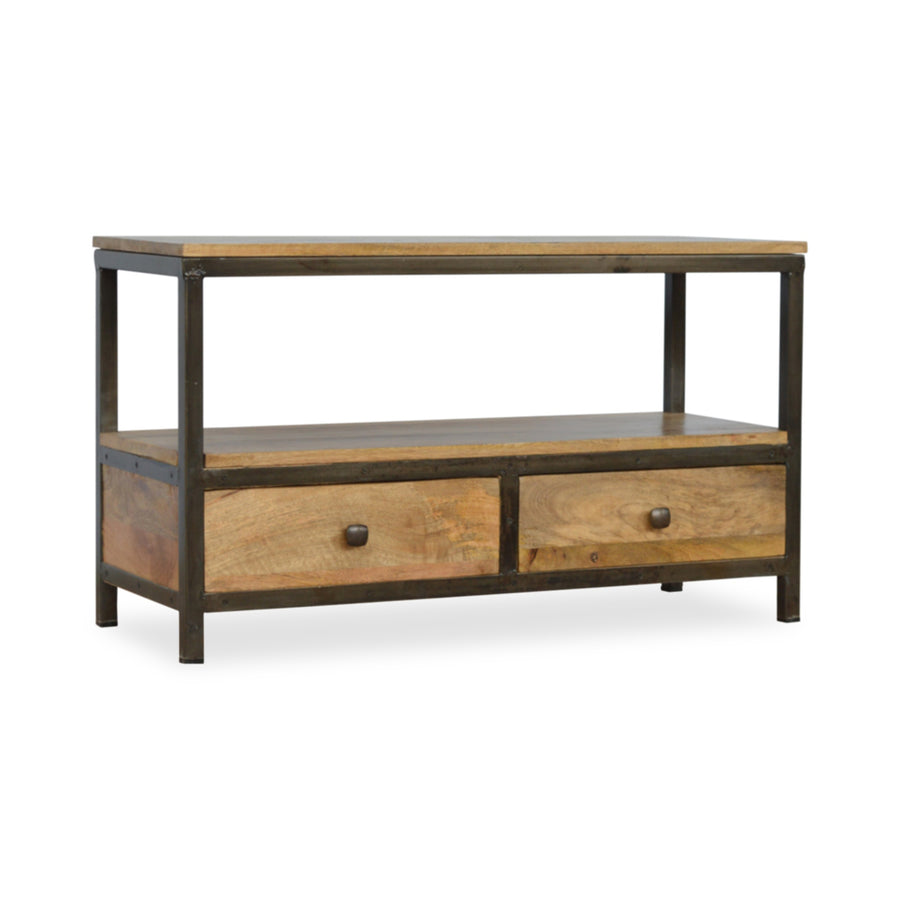 Industrial Style Metal and Wood Coffee Table with Drawers