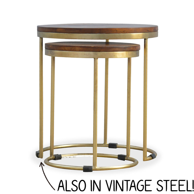 metal and wood side table set