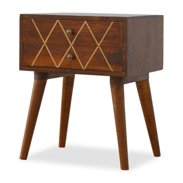 Solid Wood Bedside Table with brass inlay
