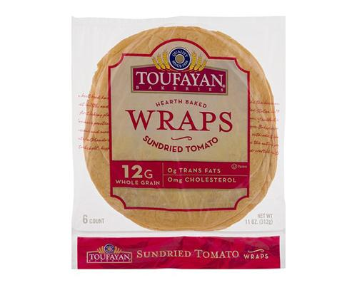 Toufayan Hearth Baked Wraps Sun Dried Tomatoes - 6 ct