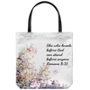 Scripture totebag-She who kneels before god can stand before anyone