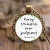 Scripture jewelry, bible jewelry, scripture necklace, bible necklace-Mercy triumphs over judgment.