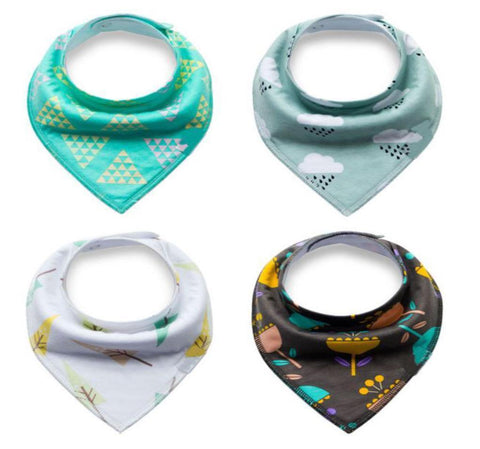 4 pcs. Bandana Bib - E2585 - Chirpy Cheeks Nappy Store - cloth nappies, wetbags, mama pads, breast pads, swim nappies