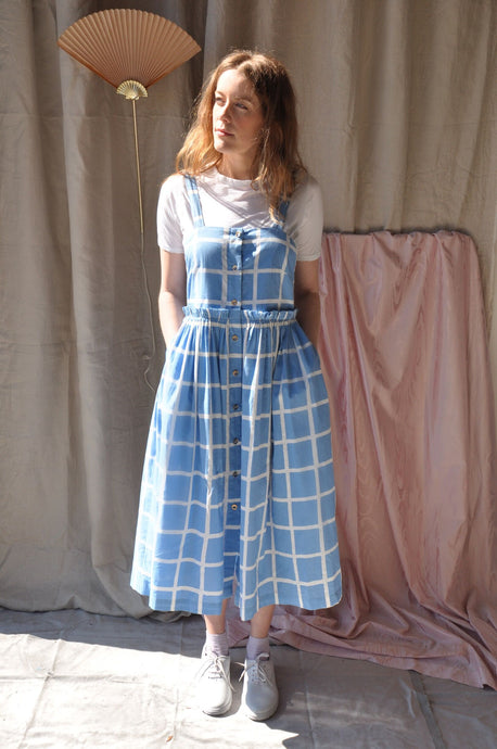Sky Grid Picnic Dress