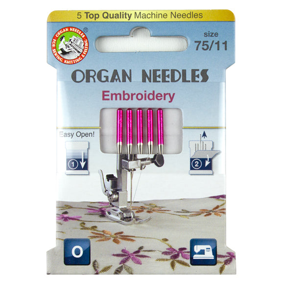 Embroidery Size 75, 5 Needles per Eco pack
