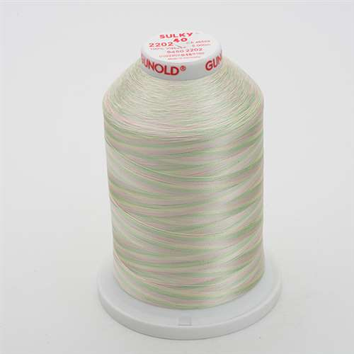 Sulky 40 wt 5500 Yard Rayon Thread - 940-2202 - Mint Greens/Pink