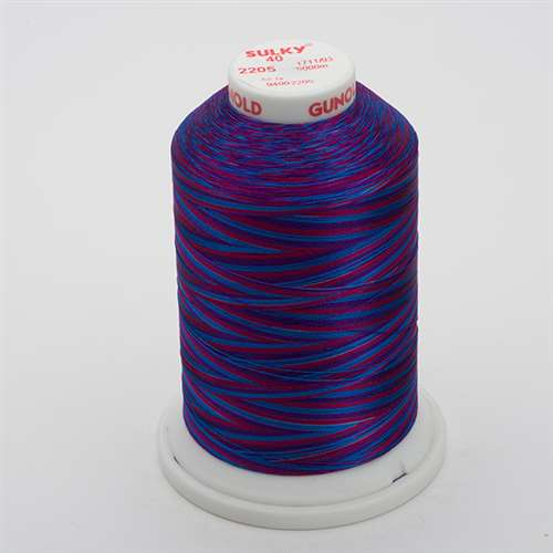 Sulky 40 wt 5500 Yard Rayon Thread - 940-2205 - Blue/Fuchsia/Purple