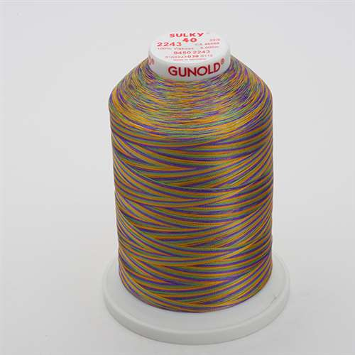Sulky 40 wt 5500 Yard Rayon Thread - 940-2243 - Med Gr/Purple/Gold