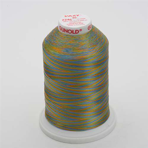 Sulky 40 wt 5500 Yard Rayon Thread - 940-2246 - Med Blue/Grn/Tan