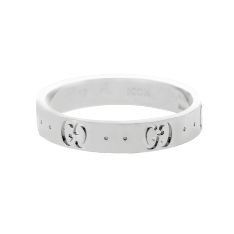 Auth Gucci Icon Logo 18K White Gold 6 mm Wide Ring Size 5 »U424