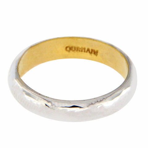 Auth GURHAN 18K White Gold & 24K Yellow Gold Galahad  Band Ring Size 6.5 »$1750